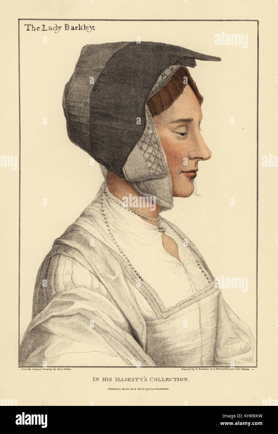 Anne Savage, second wife of Thomas Lord Berkeley. Lady in Waiting to Queen Anne Boleyn.  Handcoloured copperplate - Stock Image