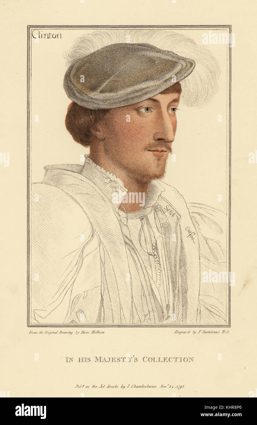 Edward Clinton, 1st Earl of Lincoln, Lord High Admiral, ambassador, courtier, 1512-1584. Handcoloured copperplate - Stock Image