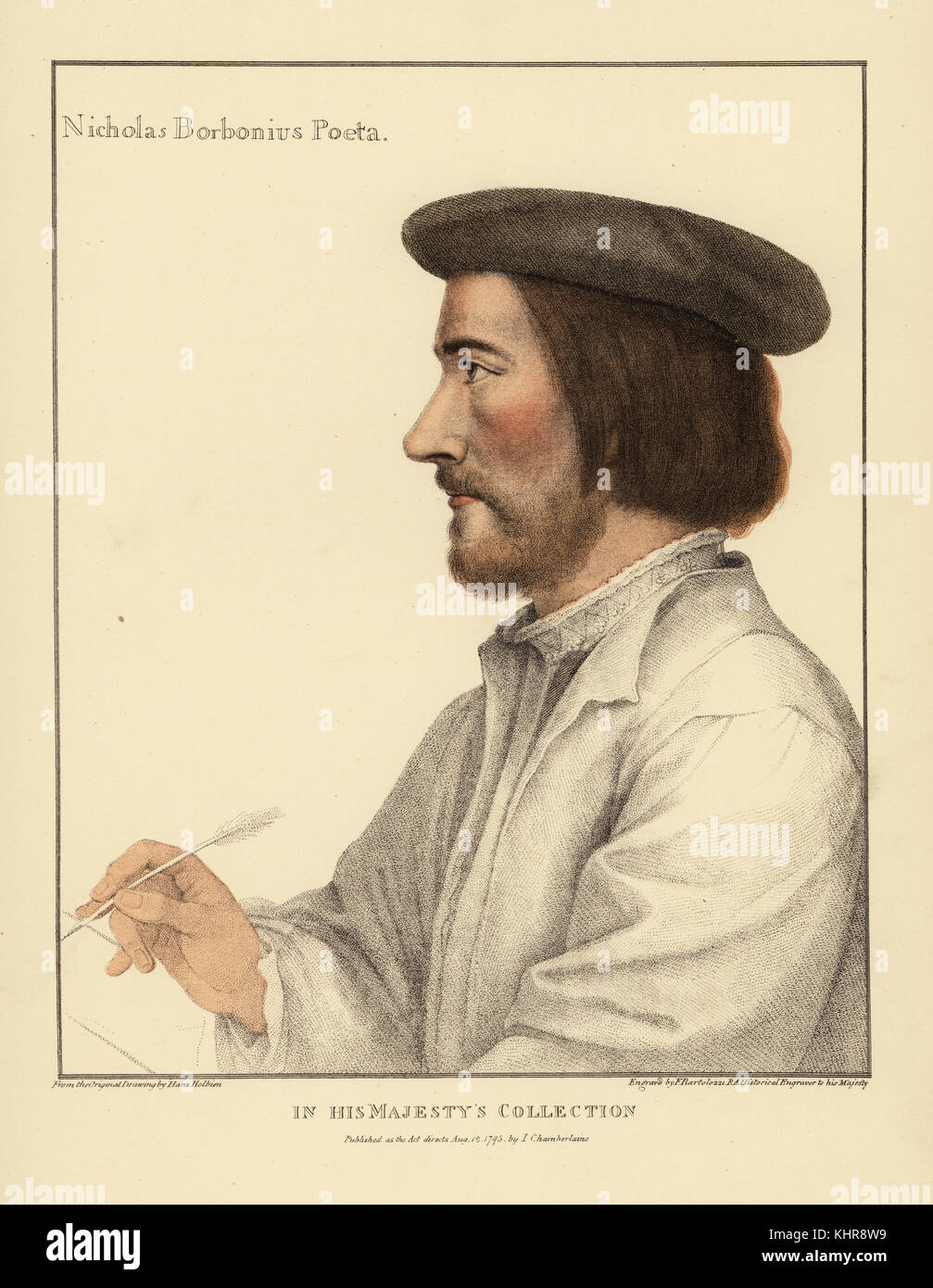 Nicholas Borbonius, preceptor, Latin poet of middling fame, tutor to the children of Margaret Queen of Navarre, - Stock Image