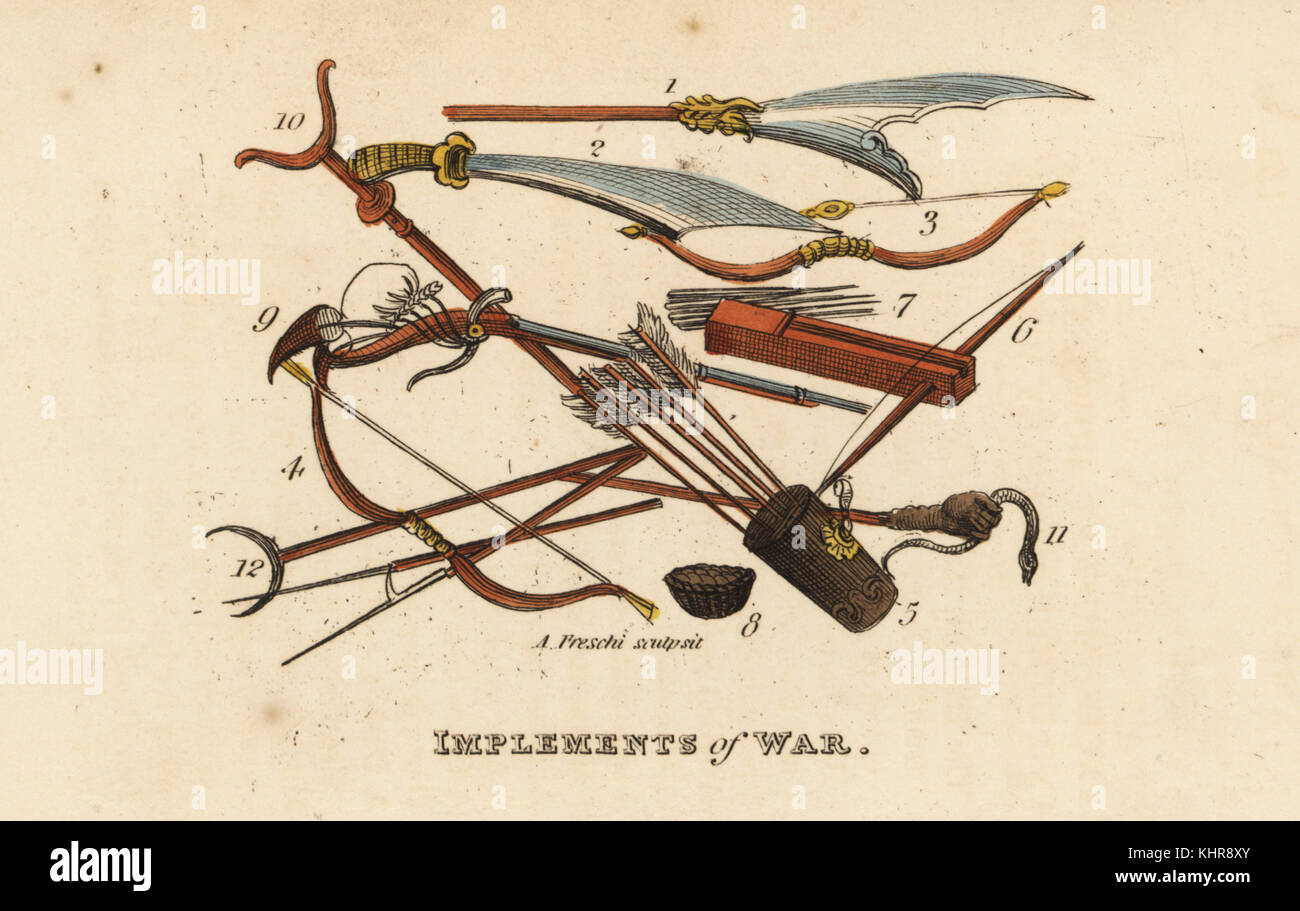 Chinese weapons or implements of war, Qing Dynasty. Halbert 1, scimitar 2, bows 3,4, quiver 5, crossbow 6, crossbow - Stock Image