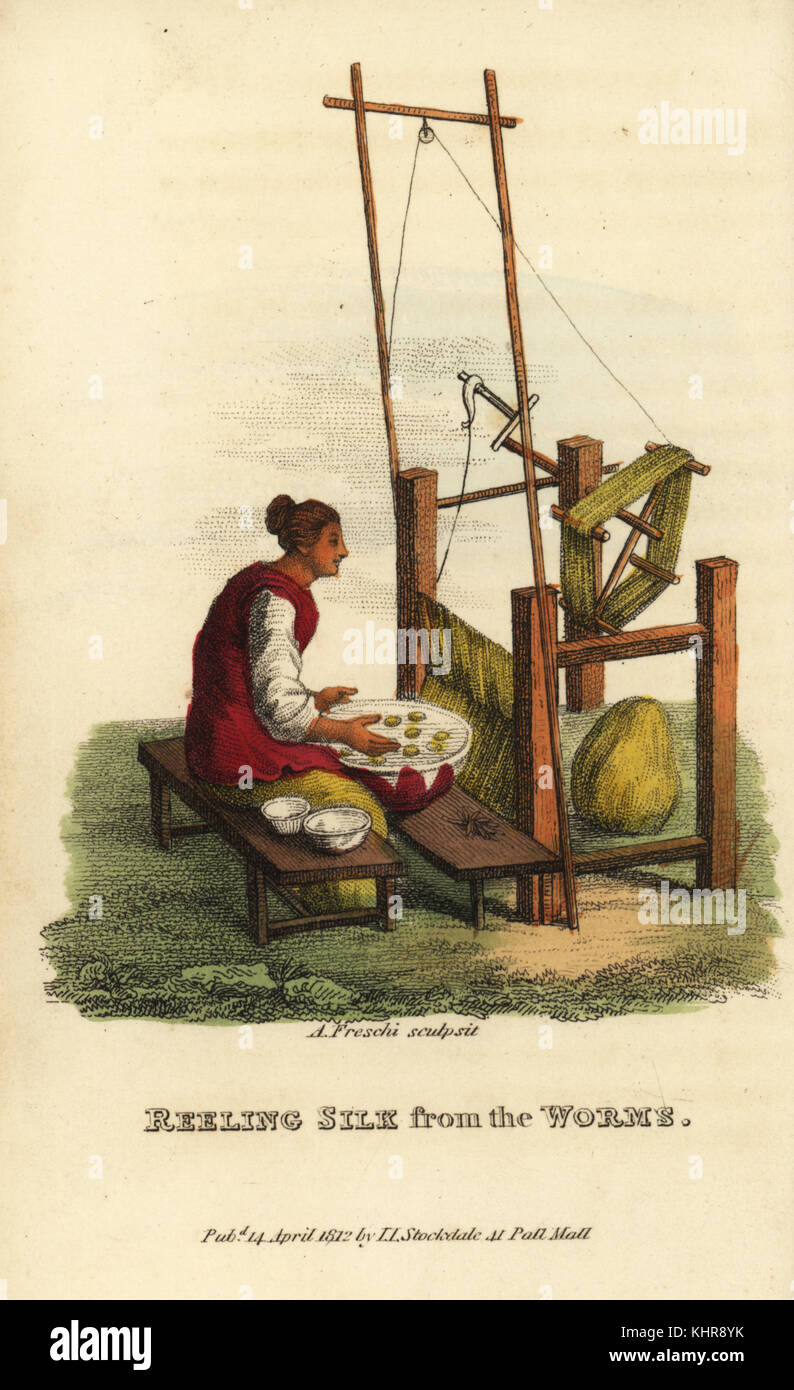 Chinese woman reeling silk thread from wild silkworms, Bombyx mori, Qing Dynasty. Handcoloured copperplate engraving - Stock Image