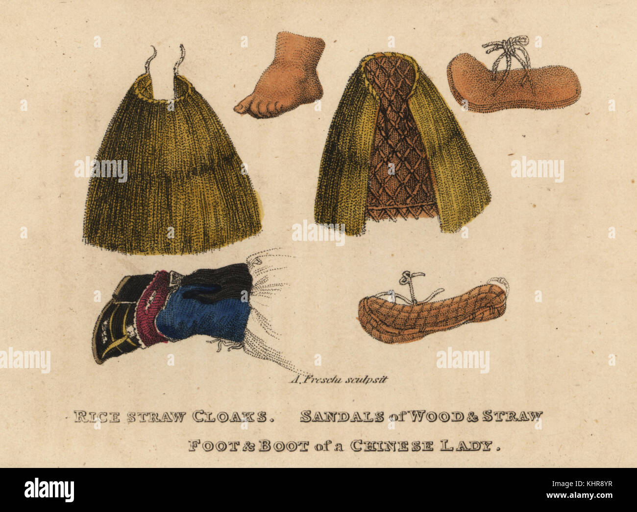 Rice-straw cloak, wood and straw sandals, Chinese woman's bound foot and boot. Handcoloured copperplate engraving - Stock Image