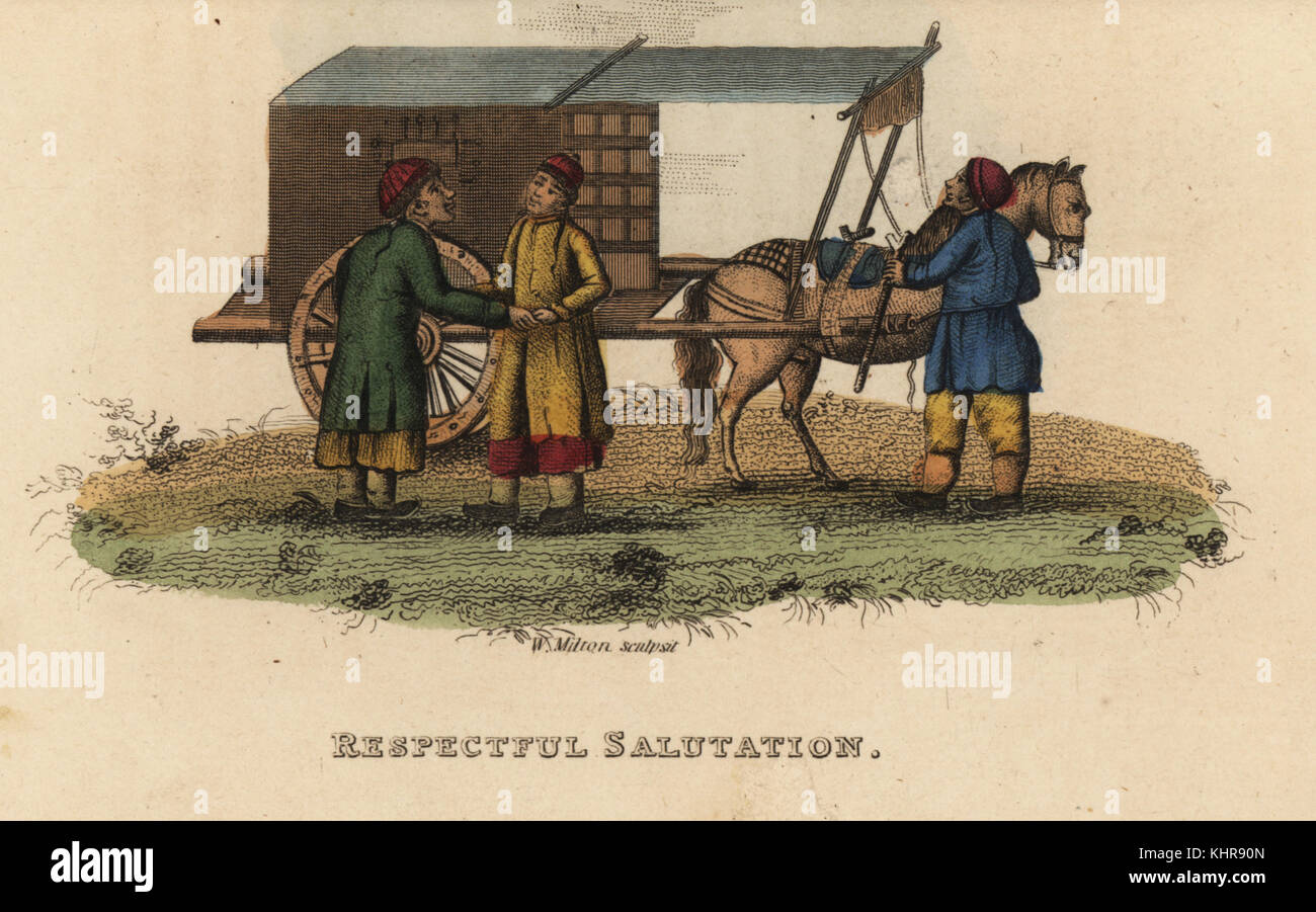 Chinese youth alighting from his carriage to salute a friend of his father's, Qing Dynasty. Handcoloured copperplate - Stock Image