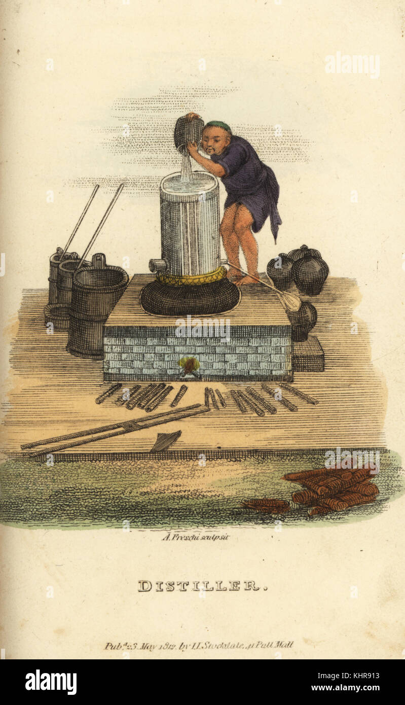 Chinese distiller making Cho-Chou or brandy in a vat on a furnace. Handcoloured copperplate engraving by Andrea - Stock Image