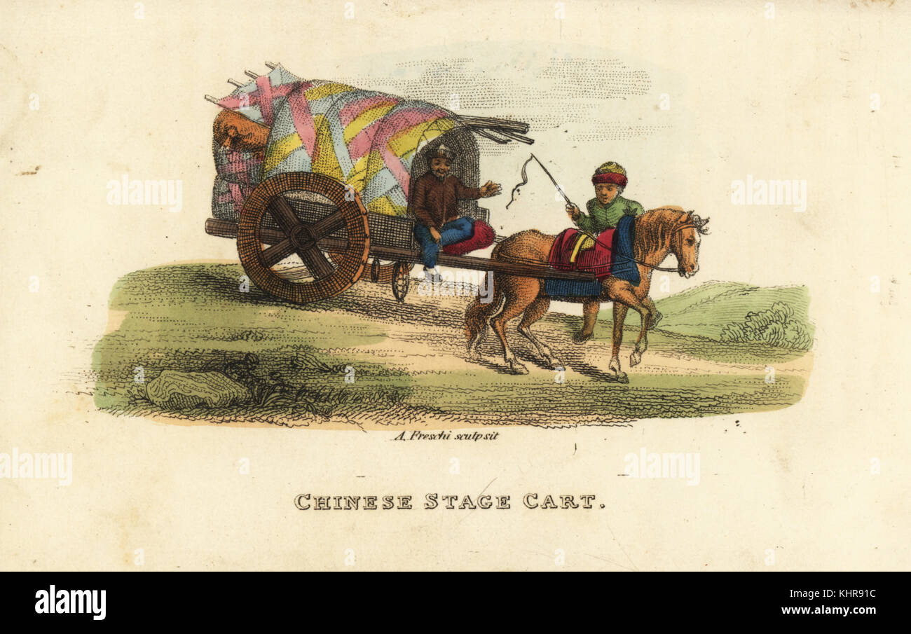 Chinese stage cart, Qing Dynasty. Common horse-drawn carriage or wagon used by all classes. Handcoloured copperplate - Stock Image