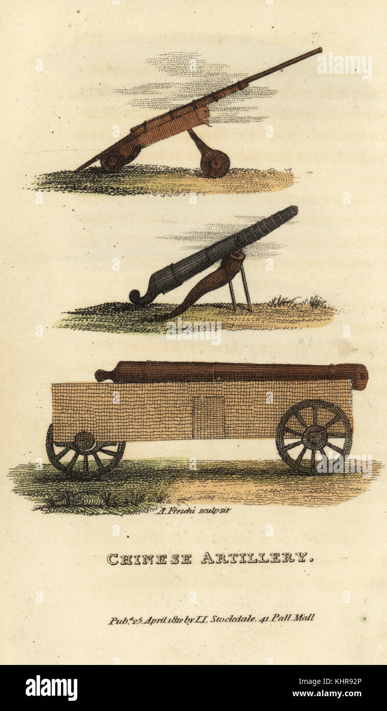 Chinese artillery: cannon with narrow muzzle like a musket, Chinese style culverine and large-bore cannon on wheels. - Stock Image