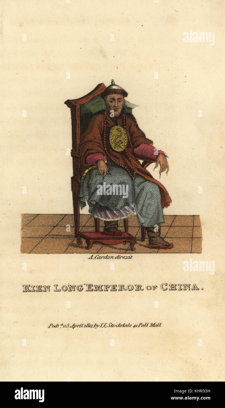 Kien Long (Qianlong) Emperor of China, sixth emperor in the Qing Dynasty (1711-1799). Handcoloured copperplate engraving - Stock Image