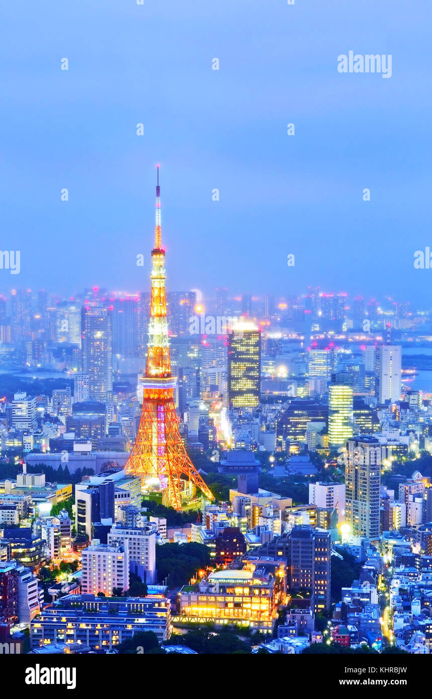 View of the Tokyo skyline at night - Stock Image