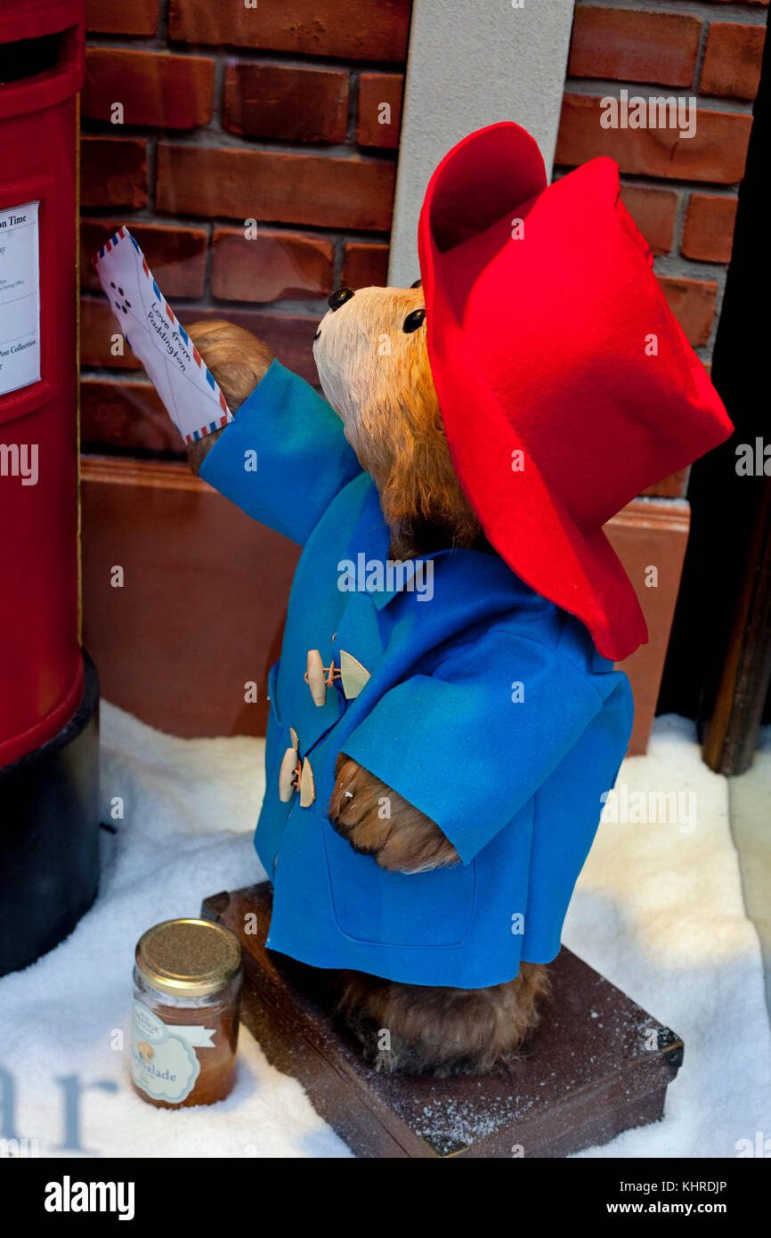Paddington Bear posting letter, Fenwick's store window, Newcastle, UK Stock Photo