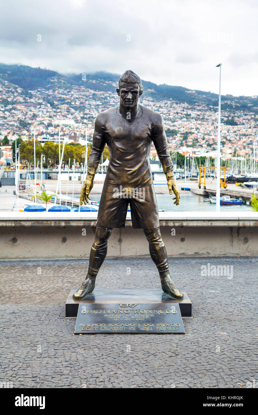 Cristiano Ronaldo sculpture in front of the CR7 museum in Funchal, Madeira, Portugal - Stock Image