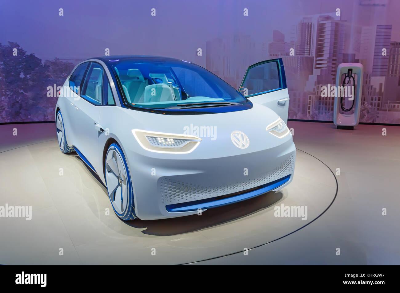 FRANKFURT, GERMANY - SEP 17, 2017: Volkswagen I.D. autonomous electric car at IAA Frankfurt Motor Show. VW ID is - Stock Image