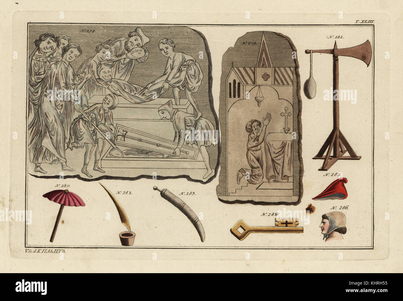 Norman funeral, chapel and equipment: a Norman funeral rite 278, Norman chapel with altar 279, umbrella 280, quintaine - Stock Image