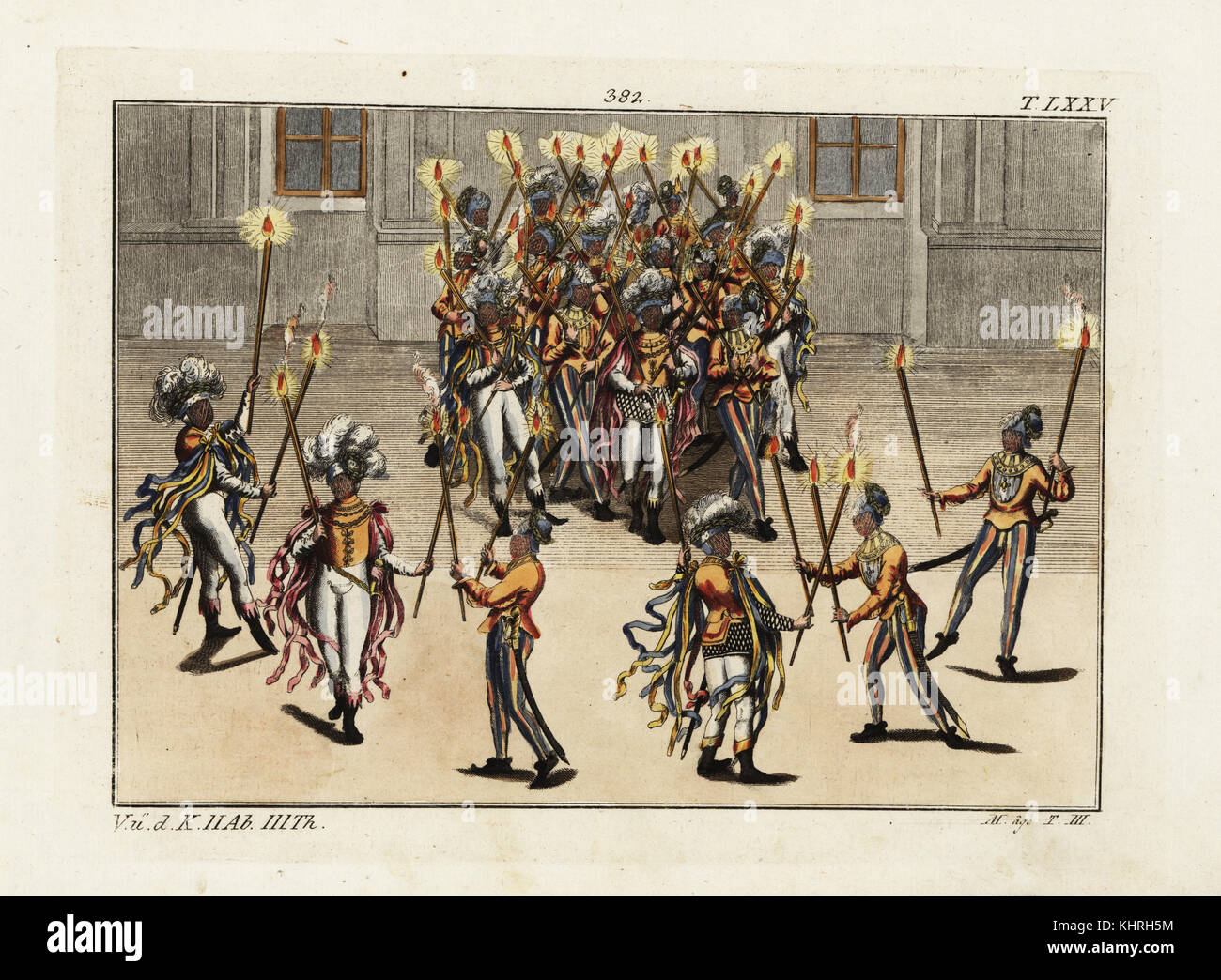 Knights performing the Torch Dance (Fackeltanz). They wear plumed helmets, face masks and short jackets with ribbons Stock Photo