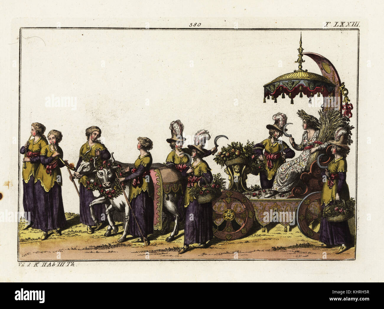 A triumphal carriage decorated with fruit and flowers from the harvest accompanied by female reapers (Schnitterinnen) - Stock Image