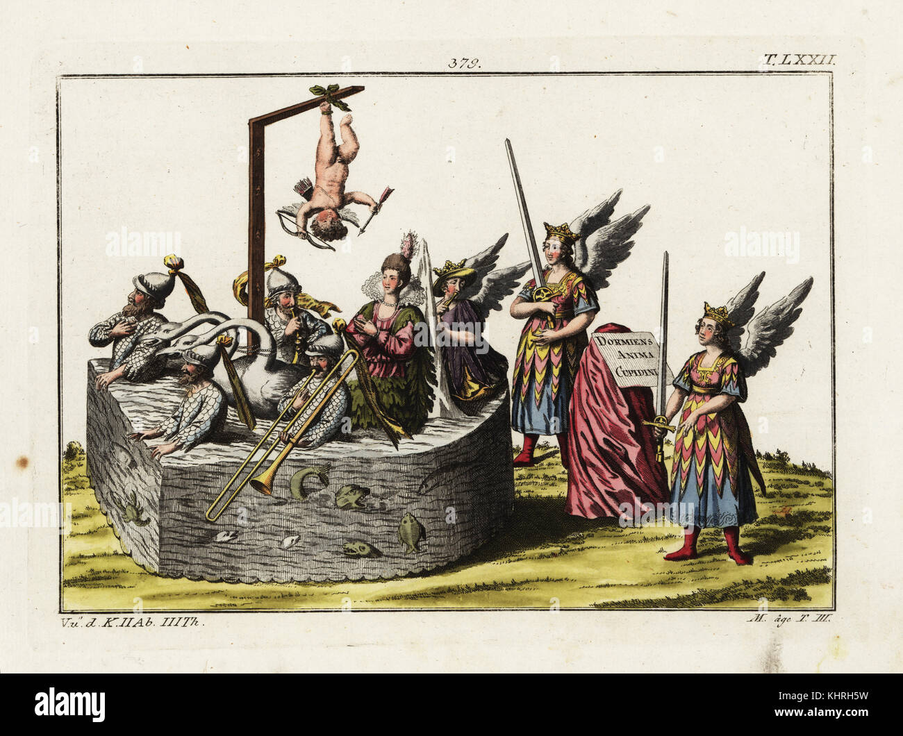 A Wassermaschine or water-carriage with musicians in fishscale costumes and a sleeping Cupid hanging by one leg. - Stock Image