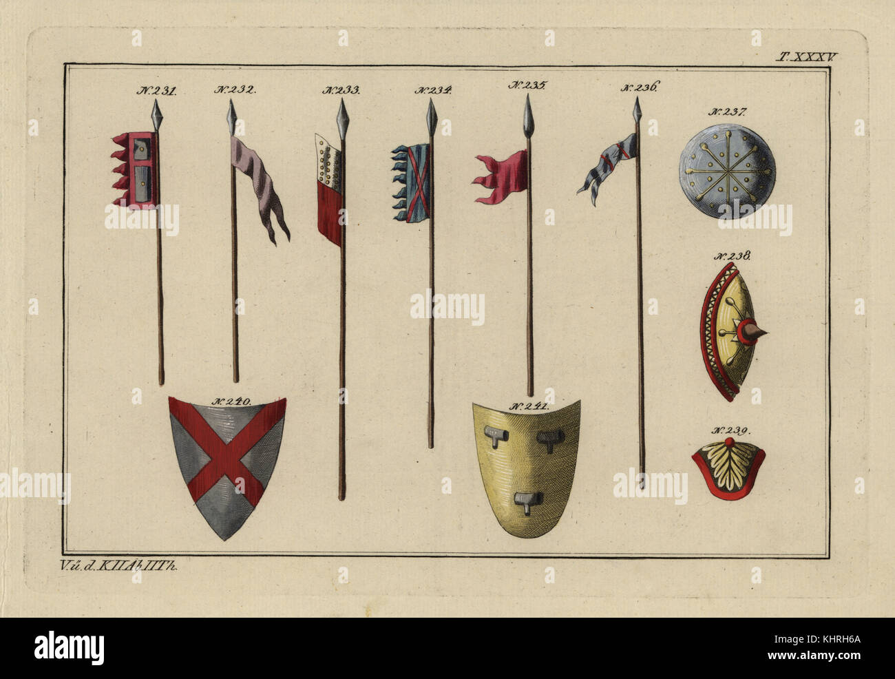 Norman weaponry: banner on lance 231, flags 232-235, infantry lance 236, infantry shields or targe 237-239 and cavalry - Stock Image