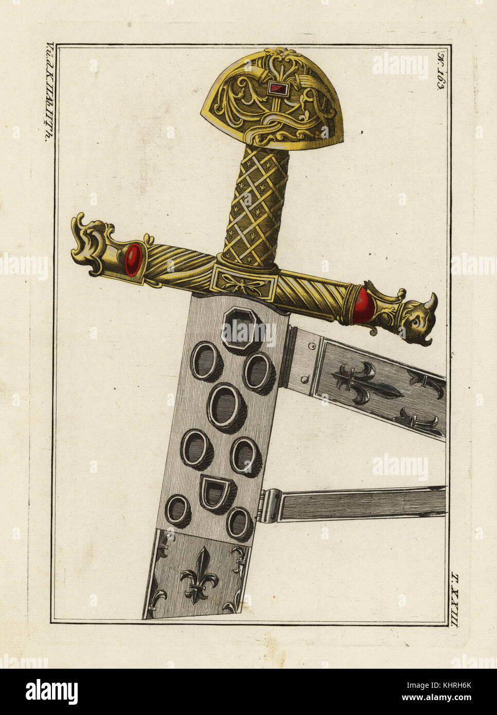 Charlemagne's sword, sheath and hilt. Handcoloured copperplate engraving from Robert von Spalart's Historical - Stock Image