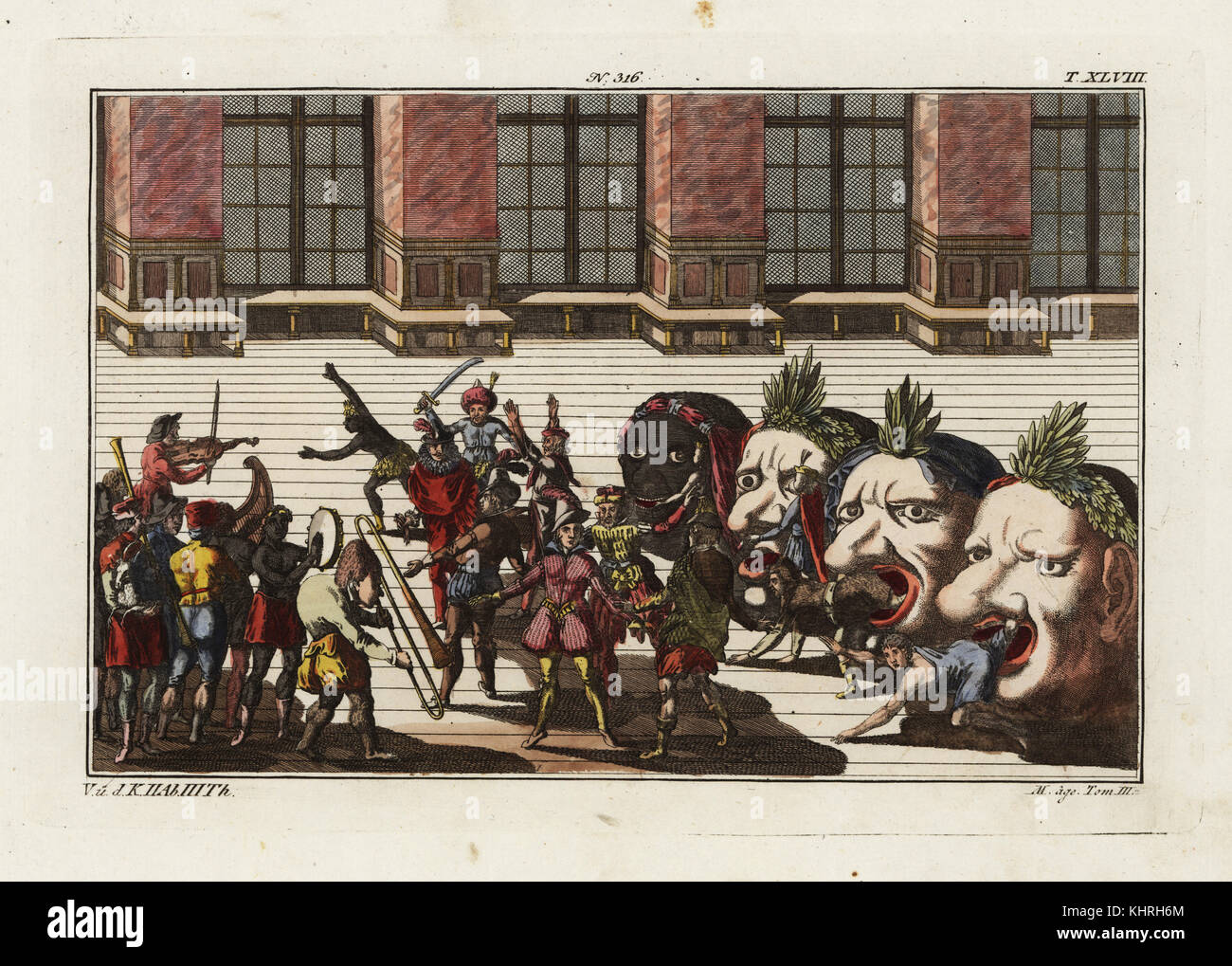 Twenty masked and costumed musicians and dancers emerge from four monstrous heads.  Dance of the Nations, part of - Stock Image