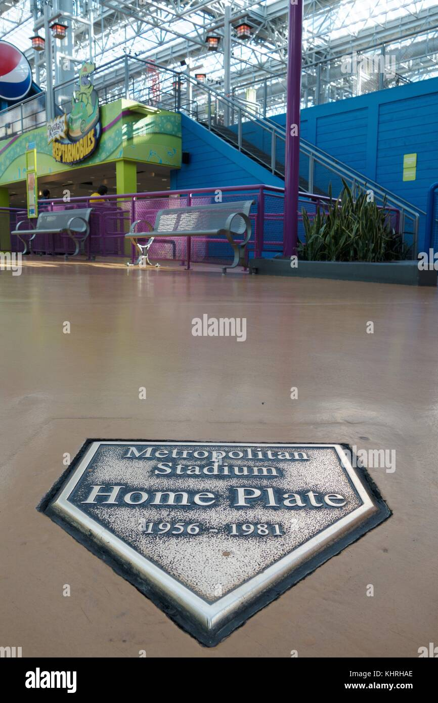 A plaque marks the spot of the Metropolitan Stadium Home Plate, which stood on the site that is now the Mall of Stock Photo