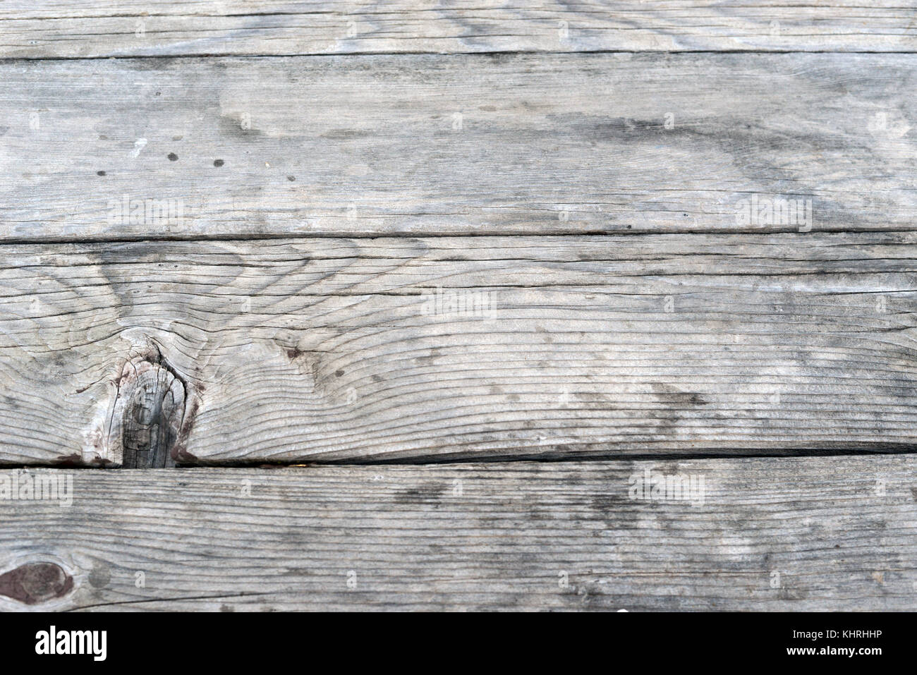 Old Antique Wood Planks Picnic Table - Stock Image