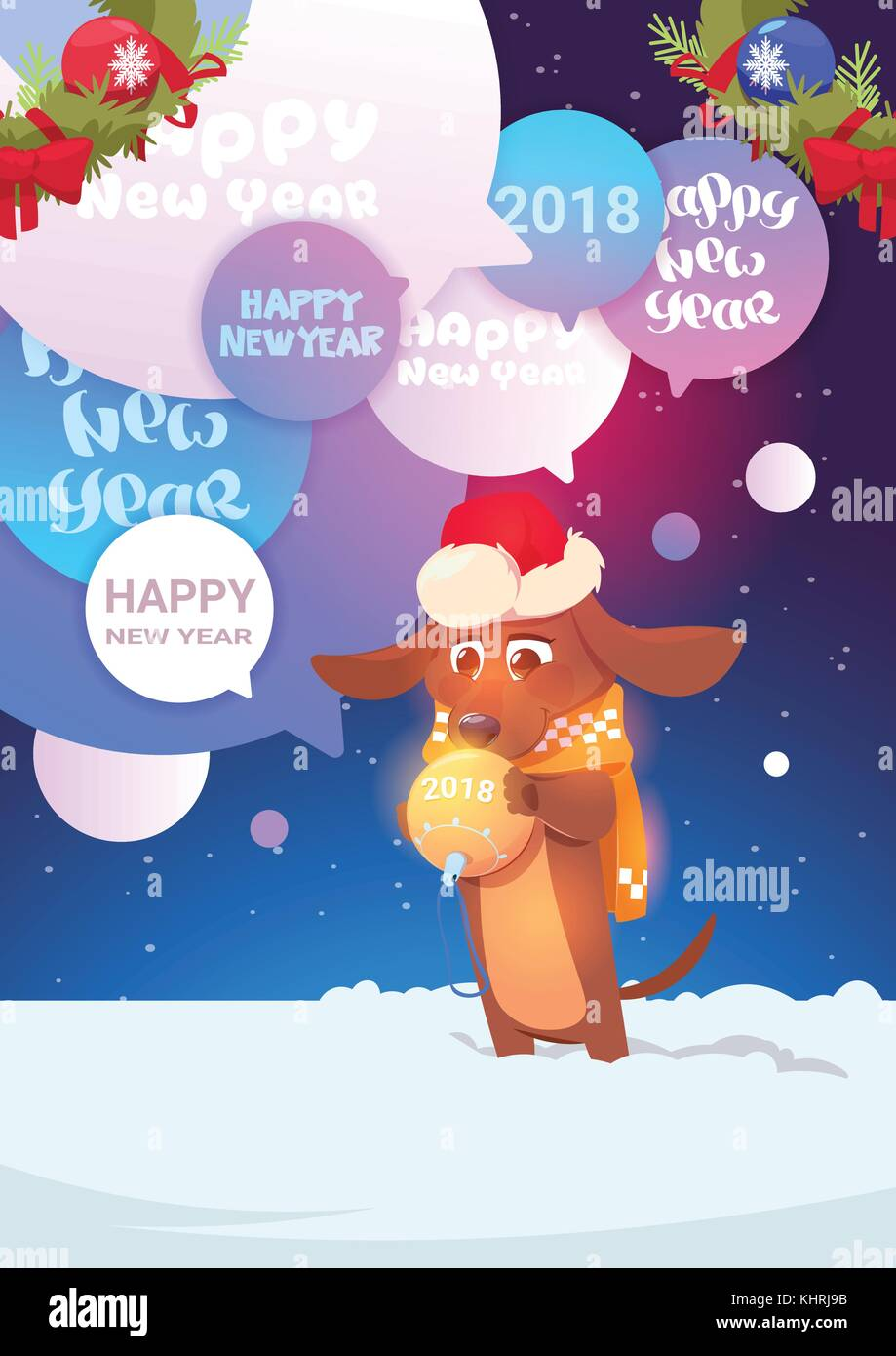Dog In Santa Hat Over Chat Bubble With Happy New Year 2018 Messages