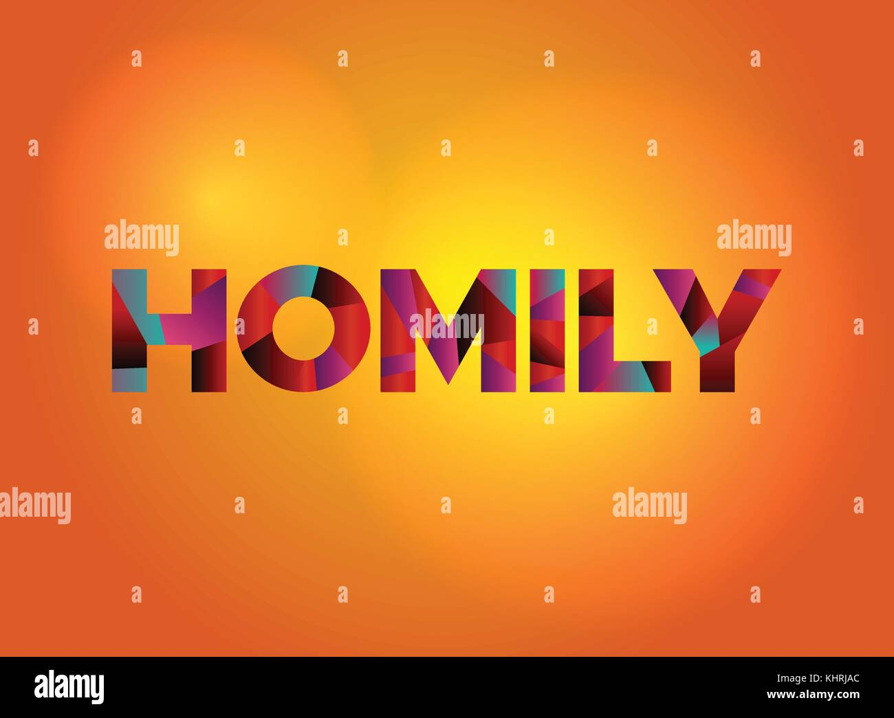 The word HOMILY written in colorful fragmented word art on a vibrant background. Vector EPS 10 available. - Stock Vector