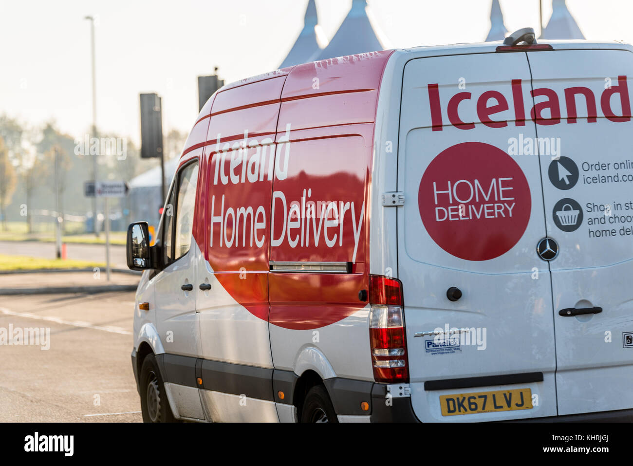 Northampton, UK - Oct 25, 2017: Iceland Home grocery delivery van. - Stock Image