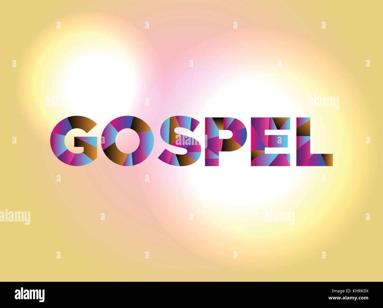 The word GOSPEL written in colorful abstract word art on a vibrant background. Vector EPS 10 available. - Stock Vector
