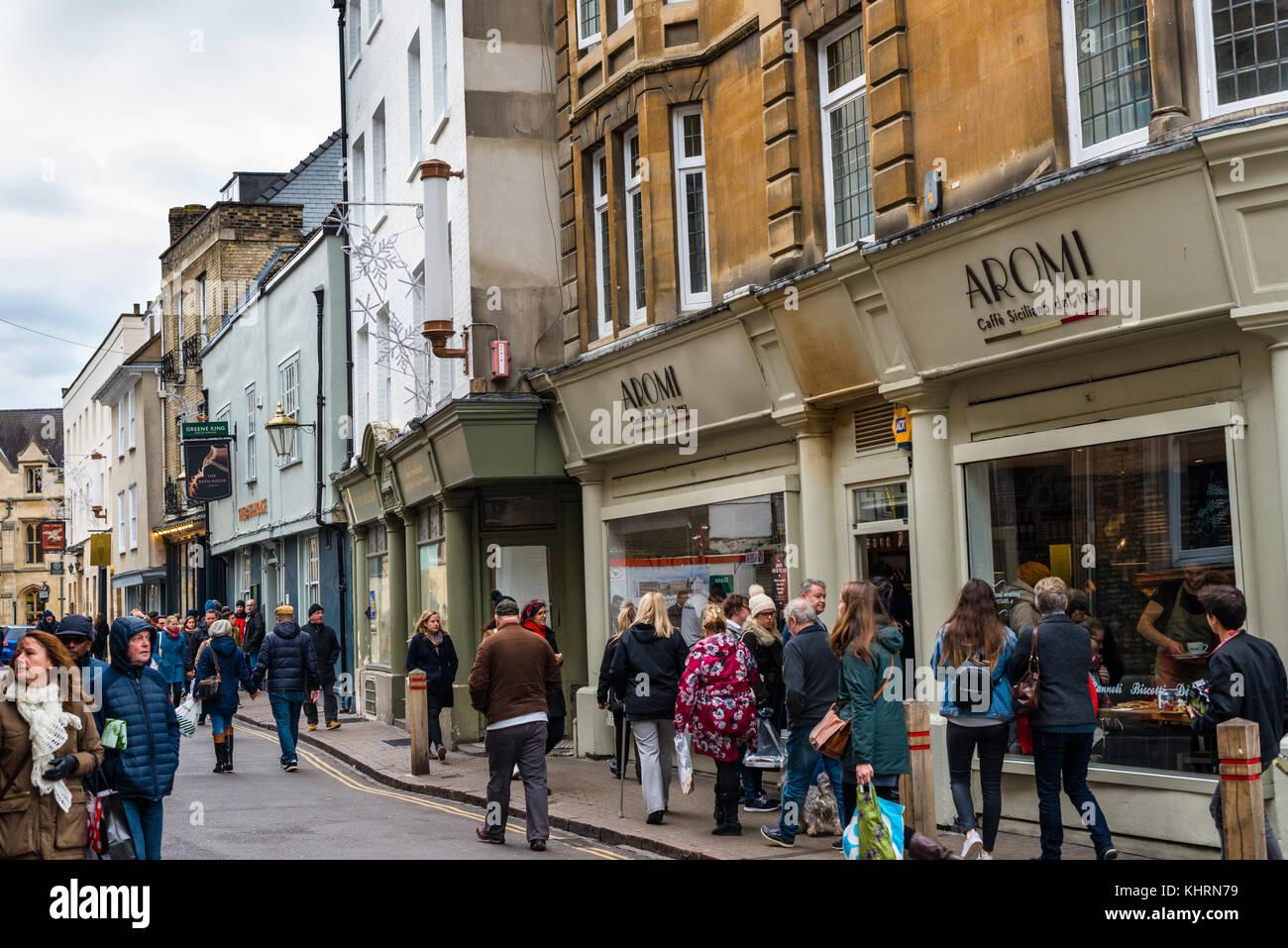 Cafes, pubs and restaurants on Benet street in Cambridge city centre, Cambridgeshire, England, UK. - Stock Image