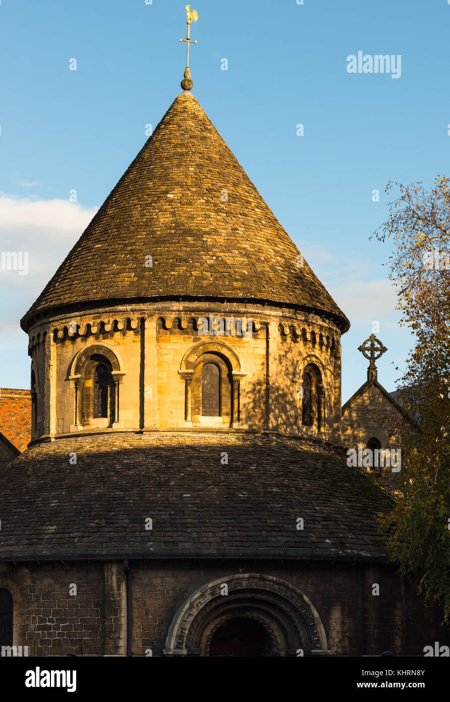 Golden evening light on Grade 1 listed 12th-century medieval Round Church of Holy Sepulchre Cambridge Cambridgeshire - Stock Image