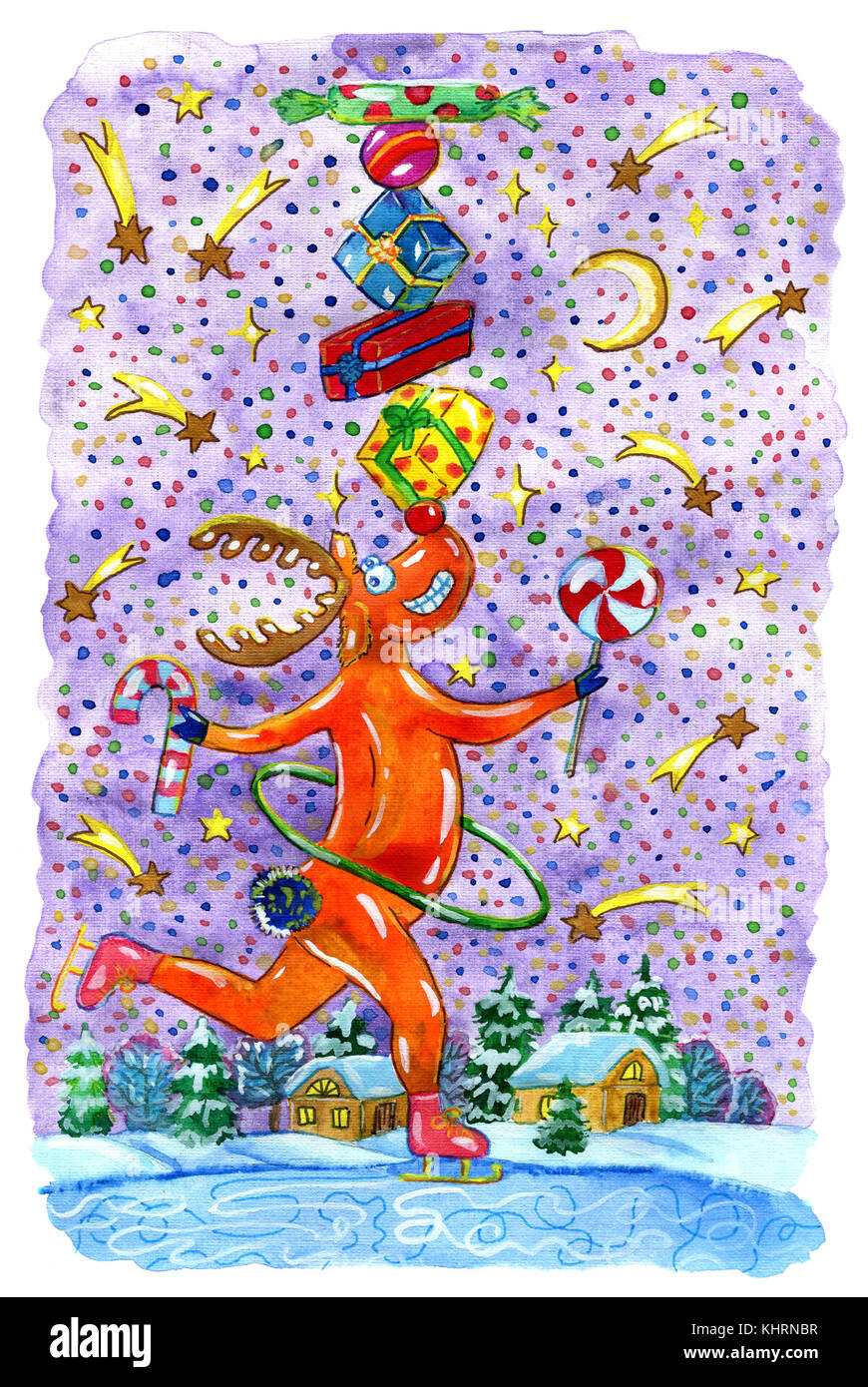 Merry reindeer Rudolph with gifts skating on lake against falling stars, forest and cute houses. Hand drawn illustration - Stock Image