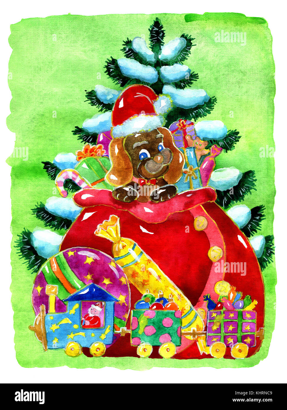 Funny puppy with Santa bag of toys and gifts against conifer in snow. Hand drawn illustration for poster, greeting - Stock Image