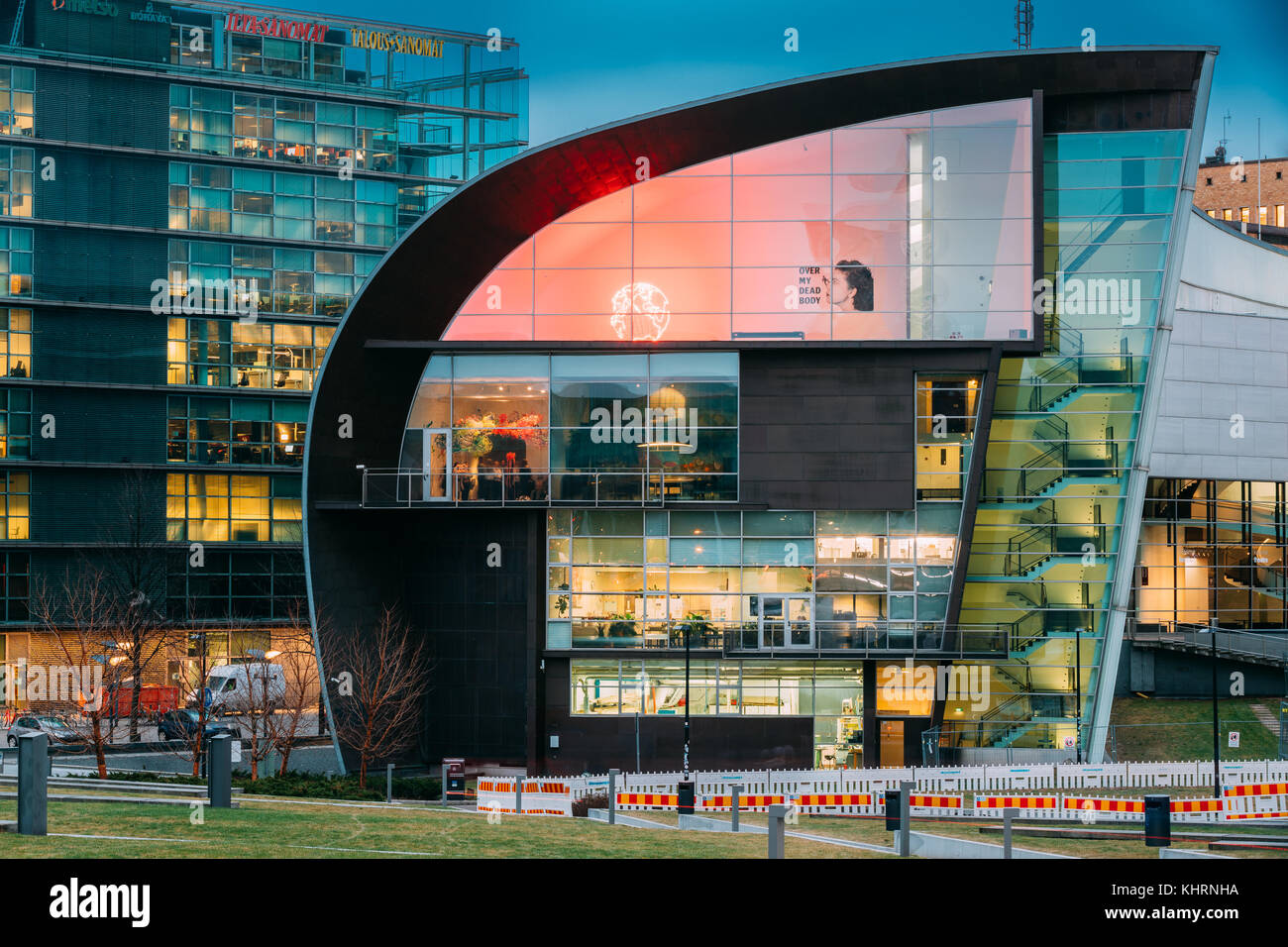 Helsinki, Finland - December 7, 2016: Evening Night View Of Kiasma Contemporary Art Museum. The Museum Exhibits - Stock Image