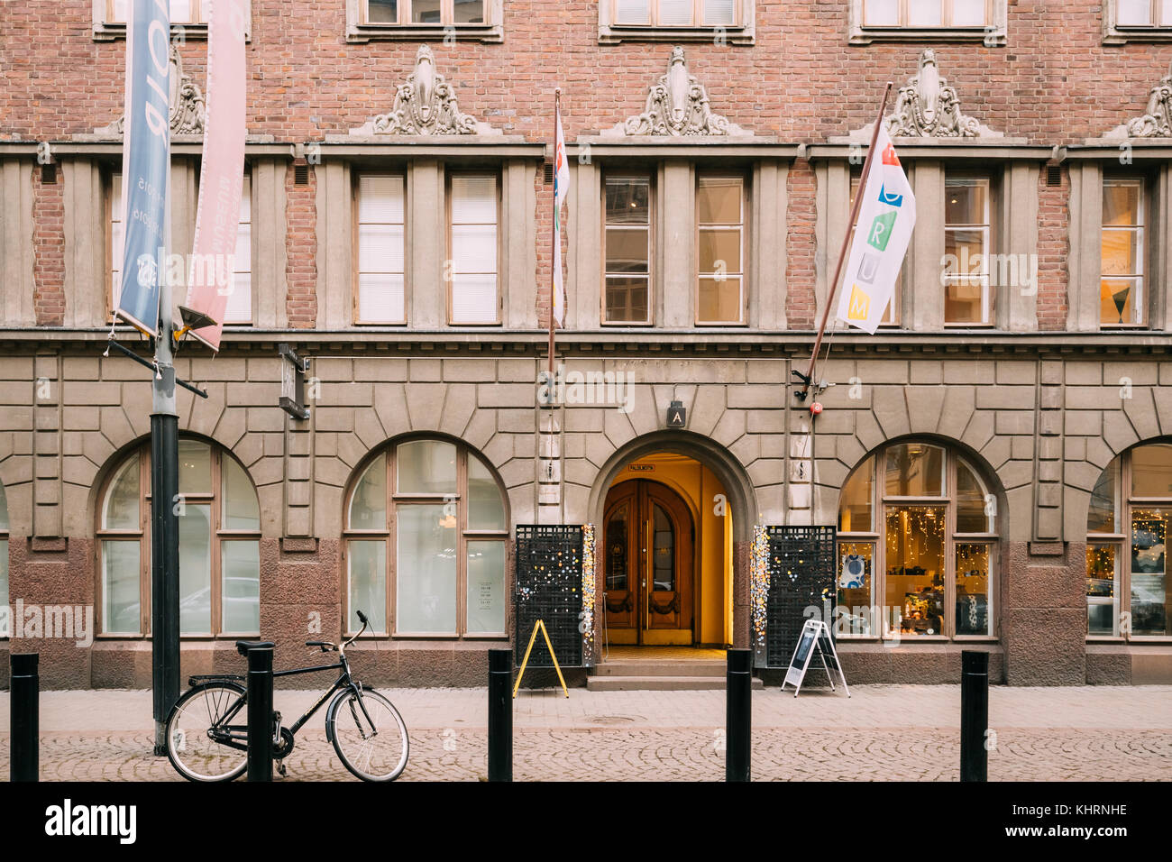 Helsinki, Finland - December 7, 2016: Entrance Door To The Amos Anderson Art Museum. It is the largest private art Stock Photo