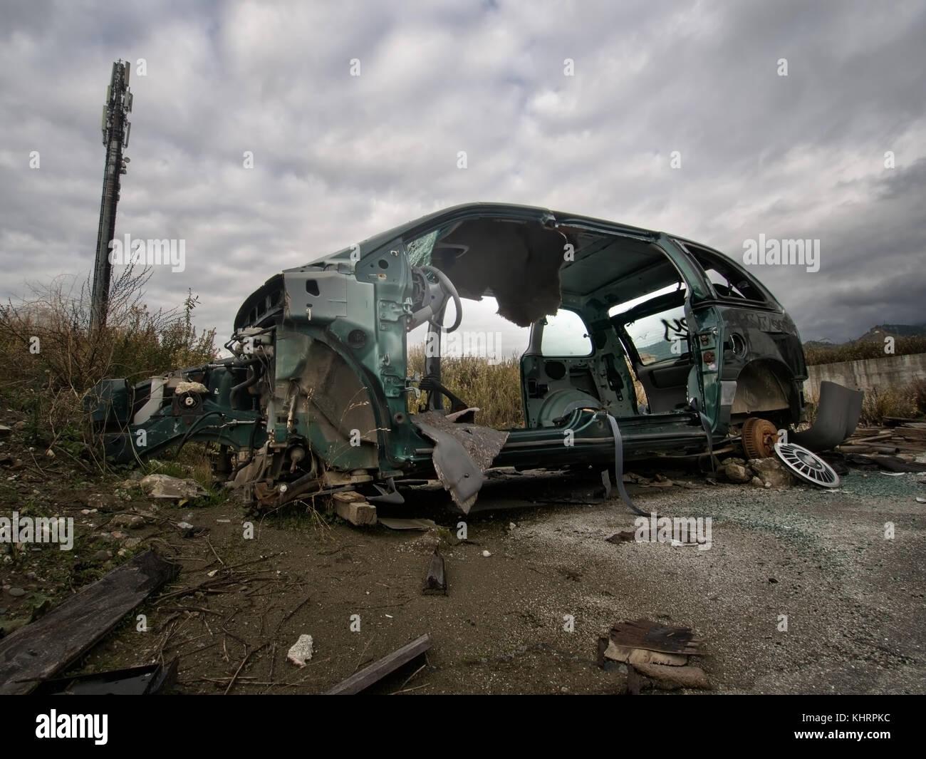 Car. Environmental damage and vandalism. Europe. - Stock Image