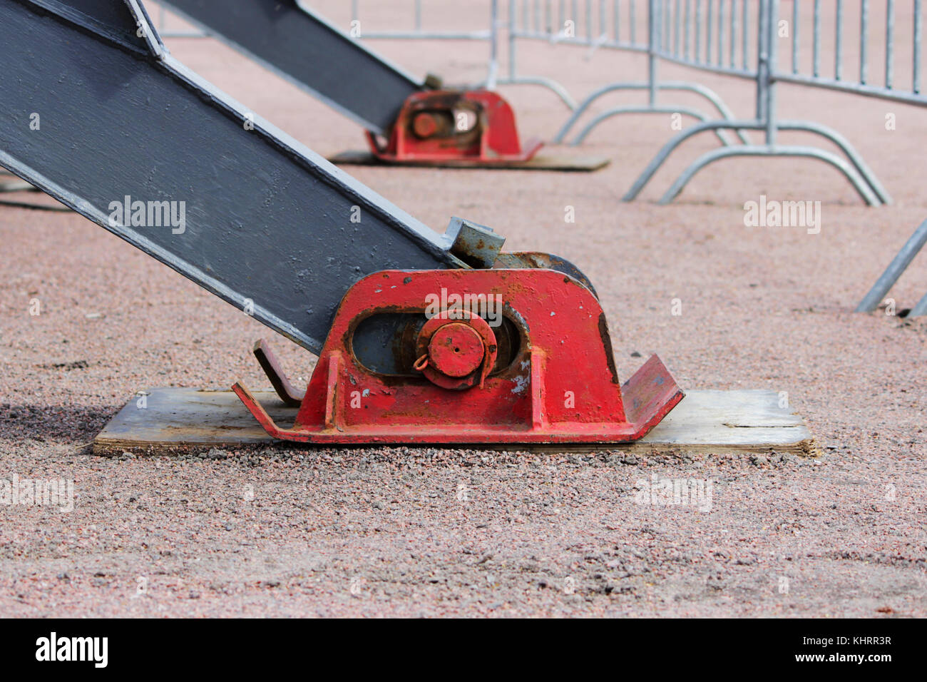 Truck strong outrigger stabilizing legs extended. - Stock Image