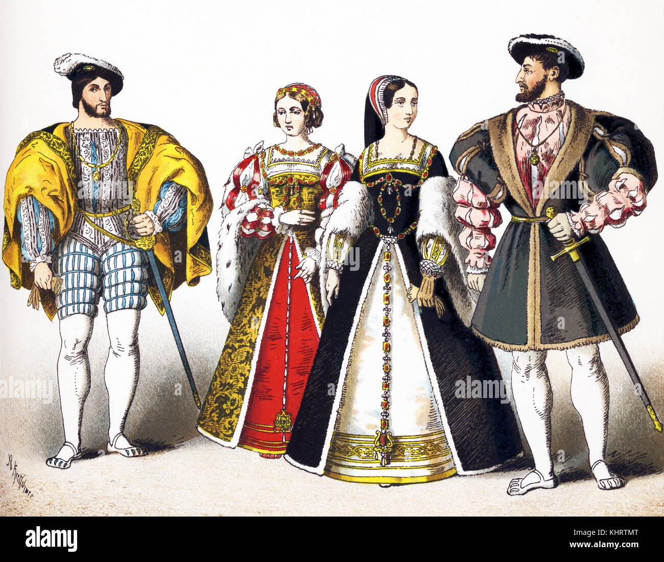 The figures represented here are French royals between 1500 and 15500.They are, from left to right: Top Box: Francis - Stock Image