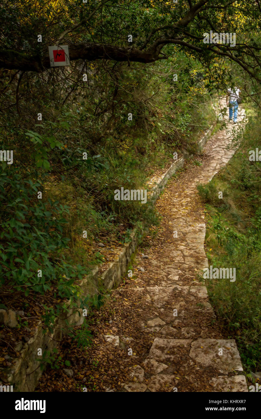 Menalon Trail, a network of footpaths in Arcadia, central Peloponnese, the first certified hiking trail in Greece. - Stock Image