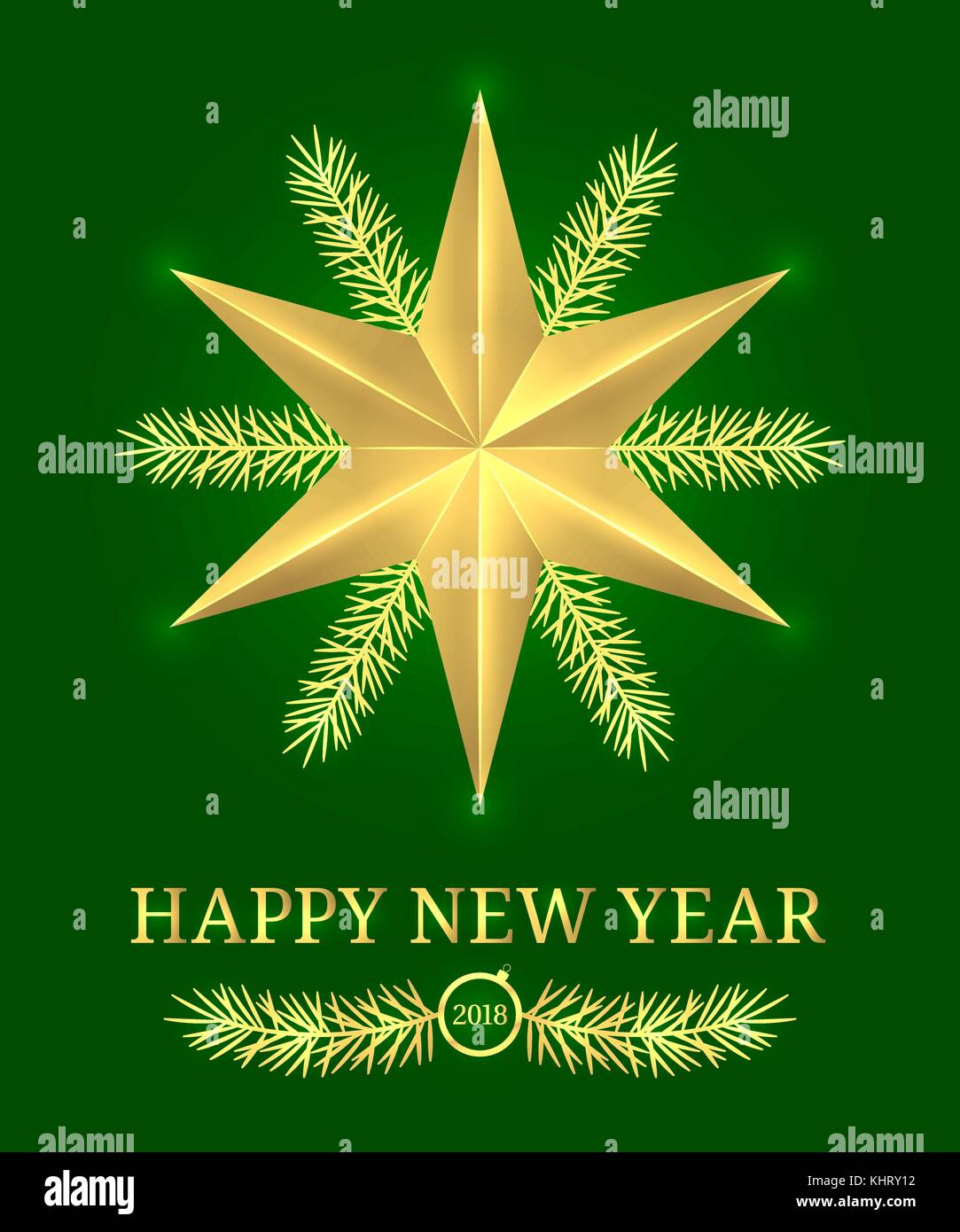 happy new year 2018 vector holiday banner with new year greeting in golden and green color golden shining star text and spruce branch
