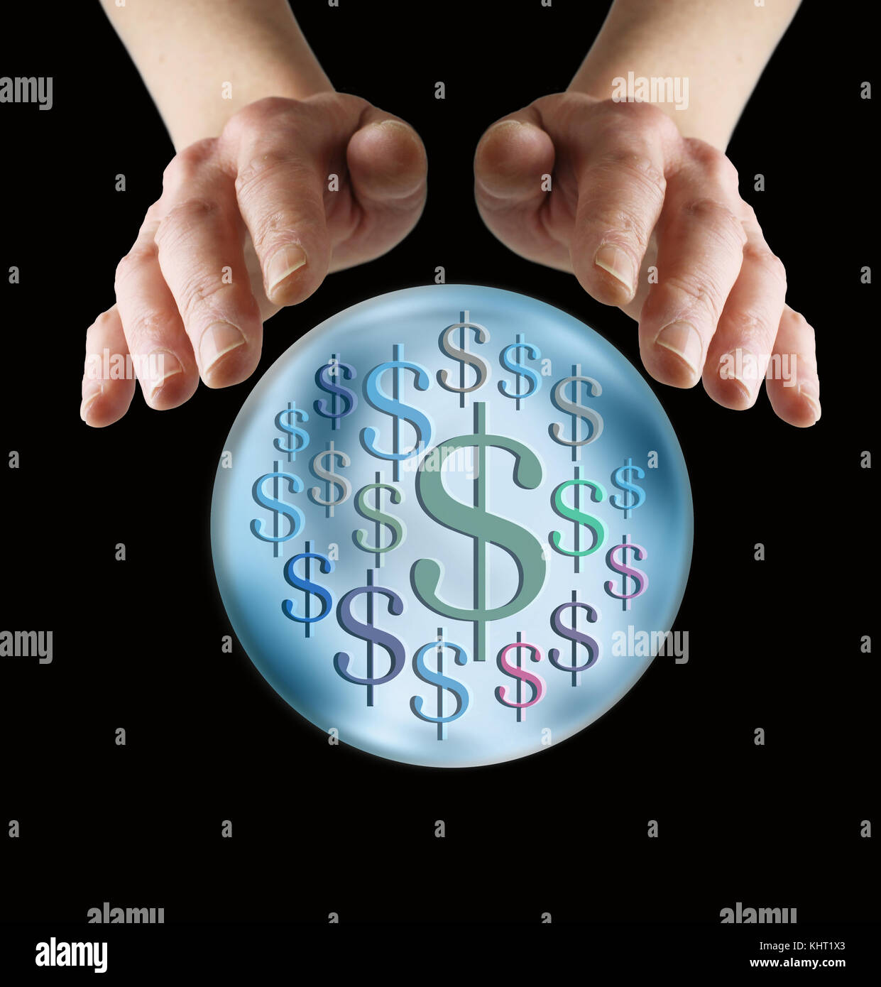 Predicting lots of money in the future - female hands cupped around a large crystal ball with random $ dollar signs - Stock Image