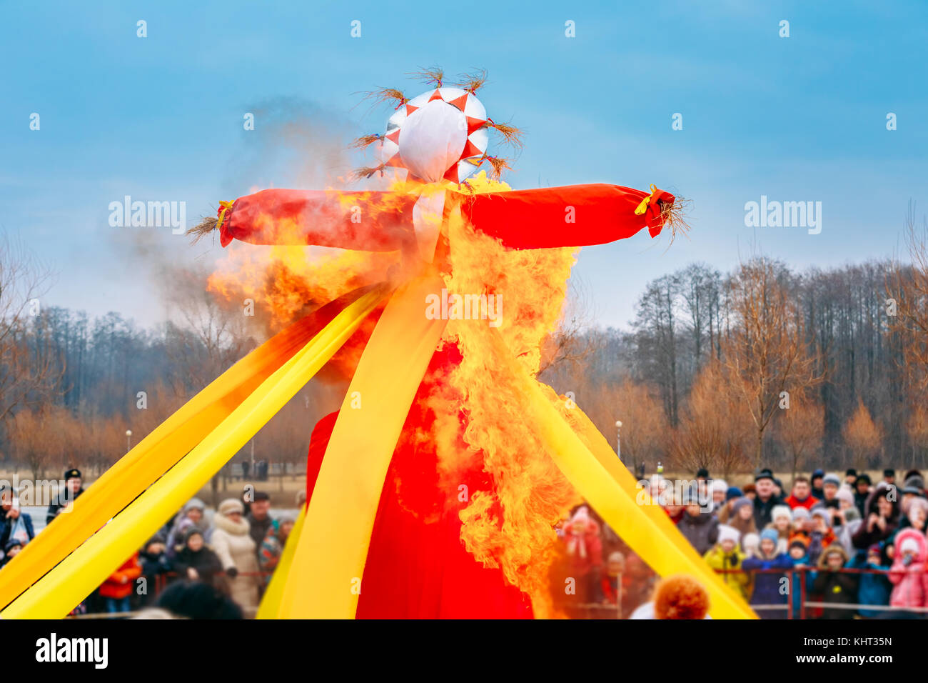 Gomel, Belarus. Burning Effigies Straw Maslenitsa In Fire On The Traditional National Holiday Dedicated To The Approach - Stock Image