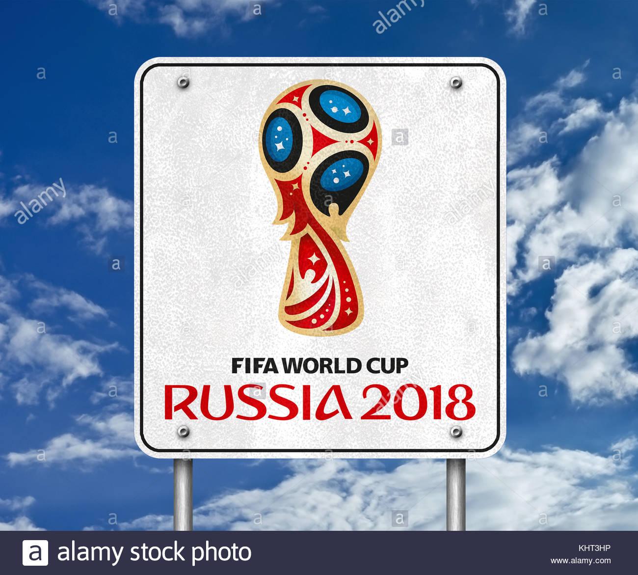 FIFA World Cup 2018 Russia logo icon - Stock Image