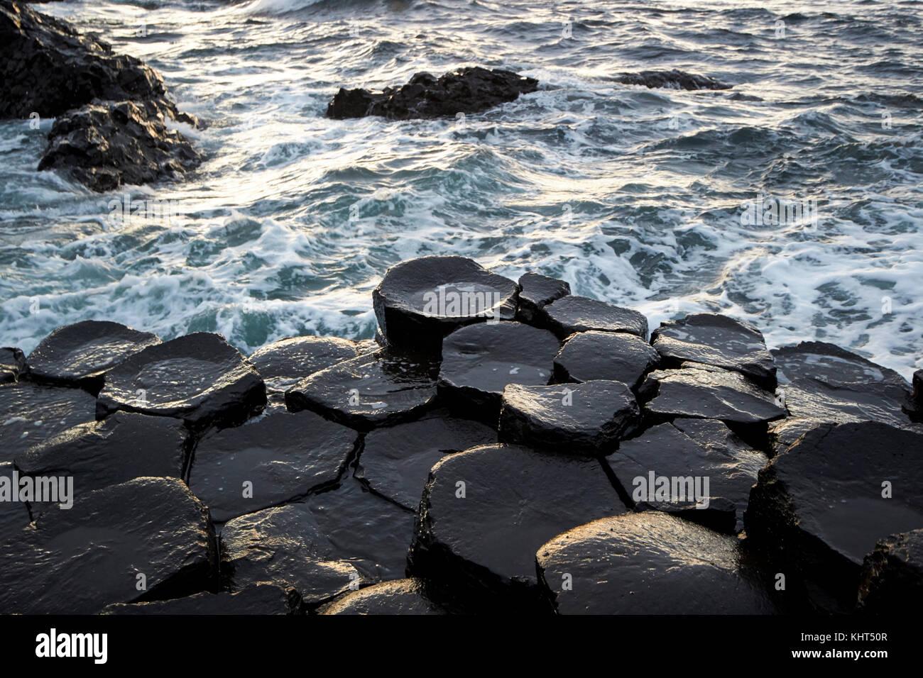 hexagonal rocks at the Giants Causeway county antrim northern ireland uk - Stock Image