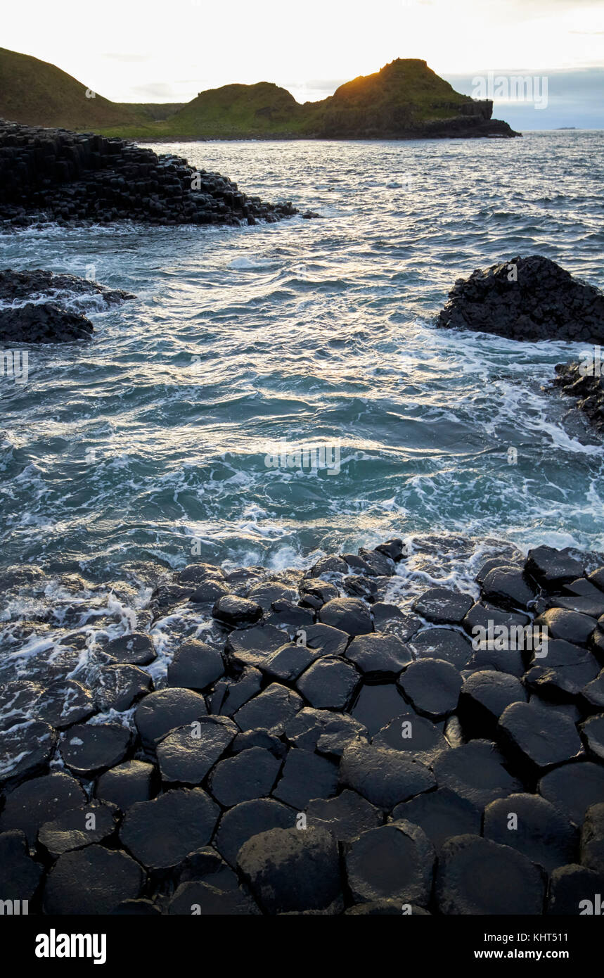sunset at the Giants Causeway county antrim northern ireland uk - Stock Image