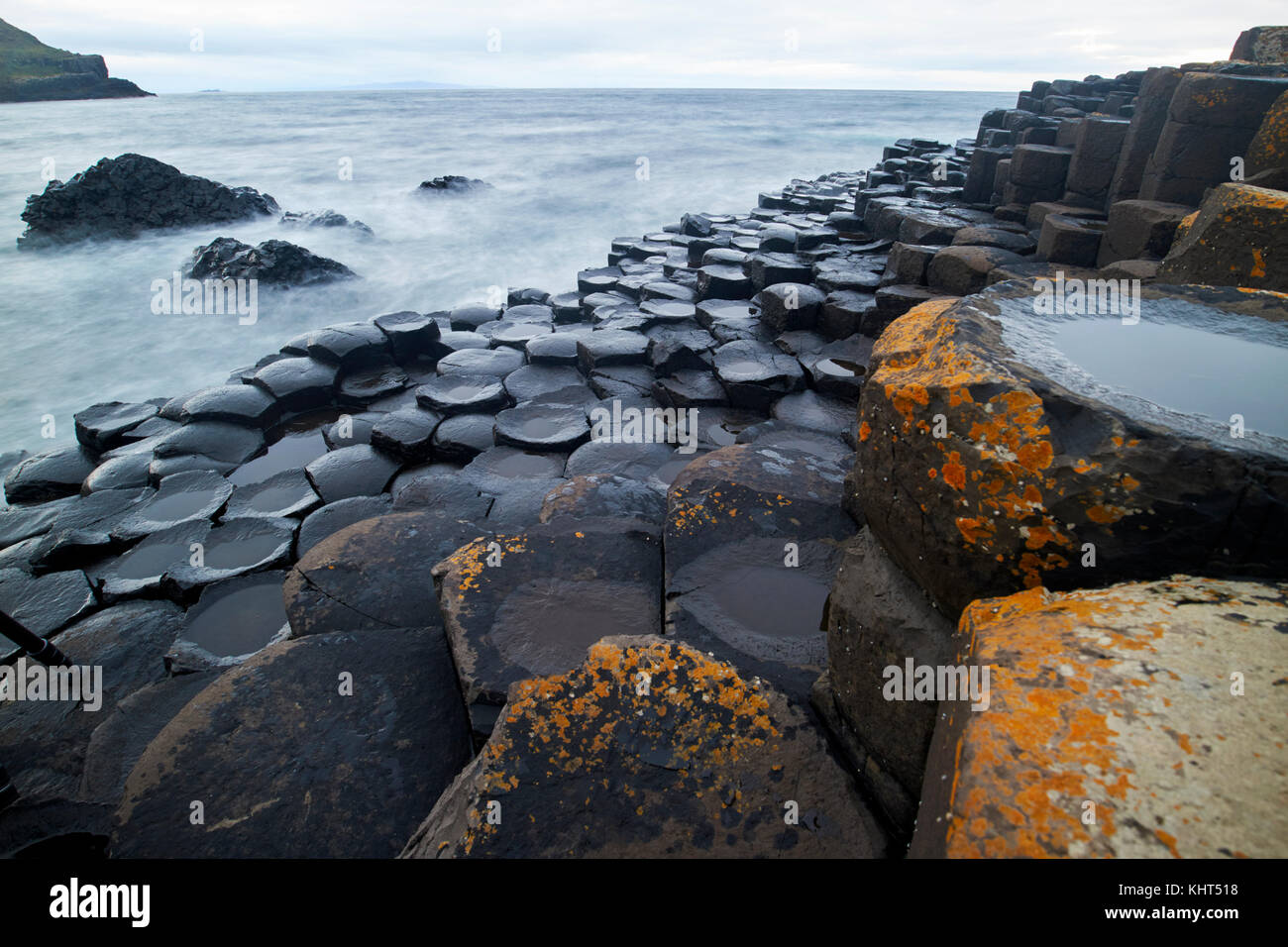 evening at the Giants Causeway county antrim northern ireland uk - Stock Image