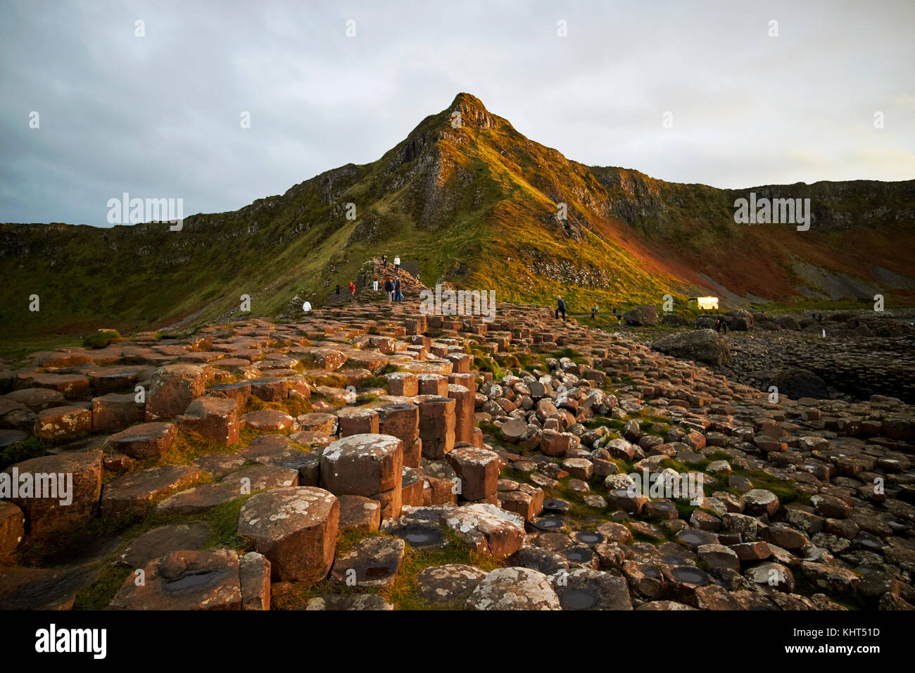 winter overcast evening at the Giants Causeway county antrim northern ireland uk - Stock Image