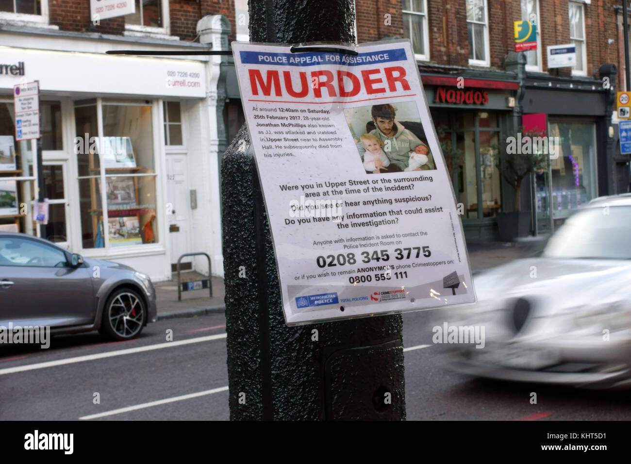 Metropolitan Police appeal for help with murder investigation in Islington, London - Stock Image