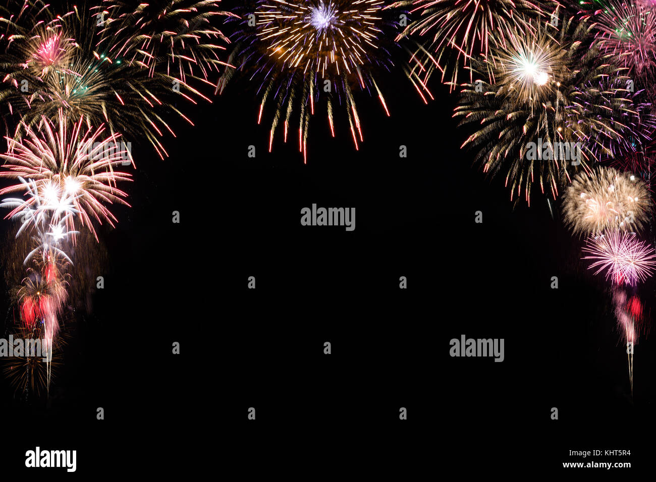 sparkle firework on black background happy new year 2018 concept stock image