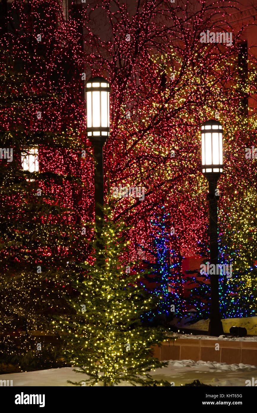 Temple Square Salt Lake City Christmas Lights.Christmas Lights Temple Square Salt Lake City Utah Stock