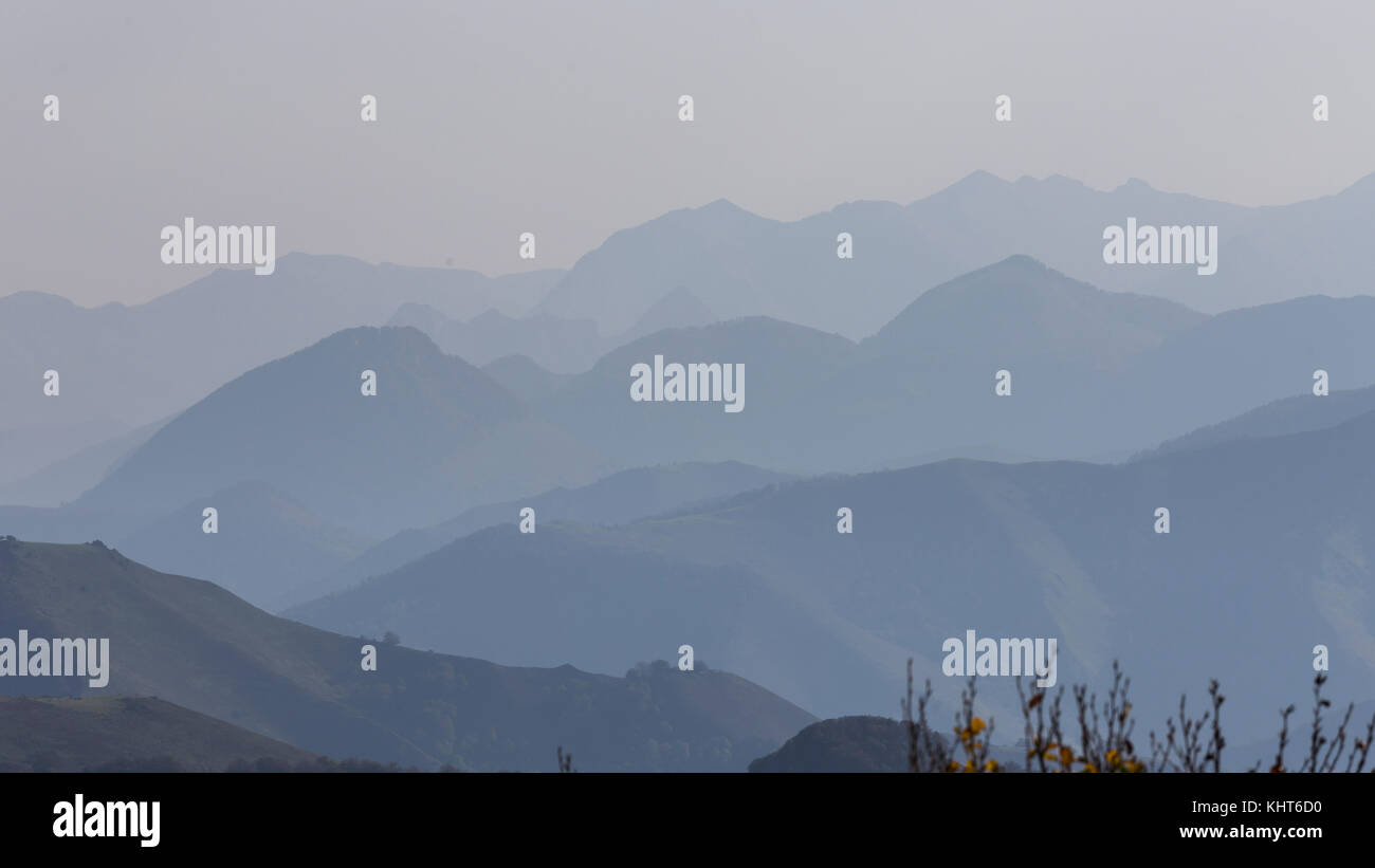Distant mountains in the French Pyrenees Stock Photo